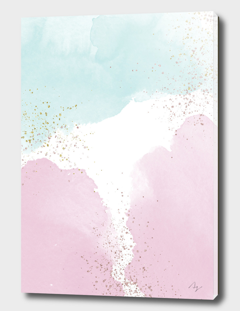 Sparkling Watercolour Clouds - Rose Mint