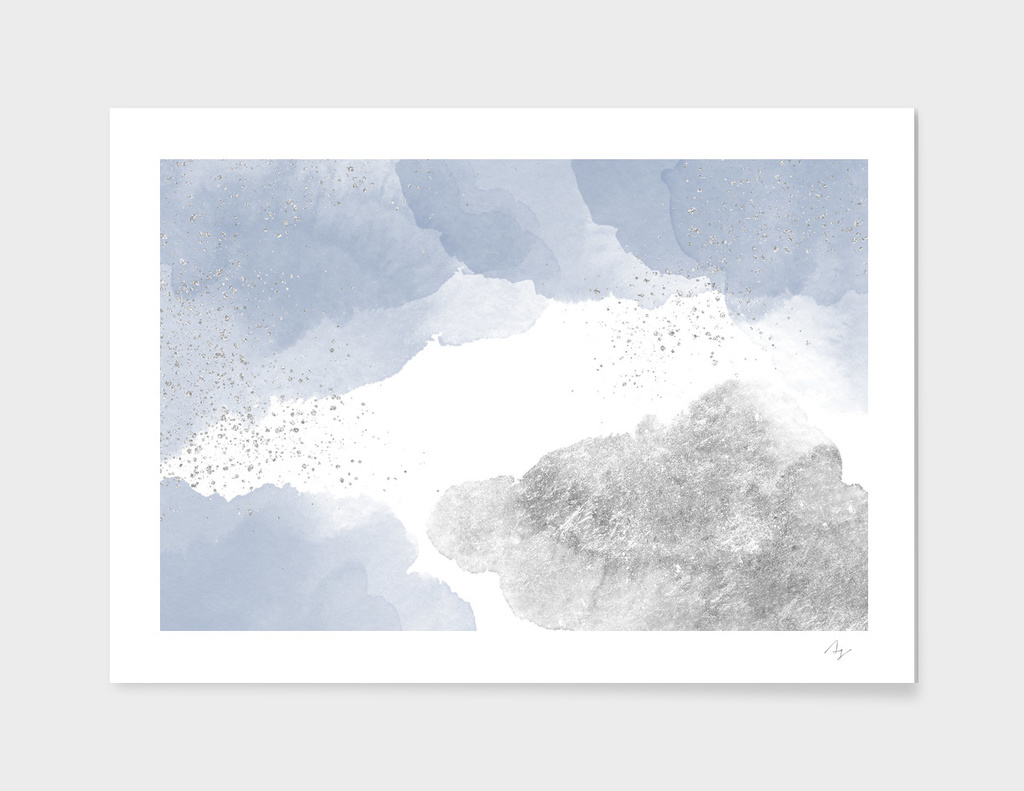 Sparkling Watercolour Clouds  - Blue Silver