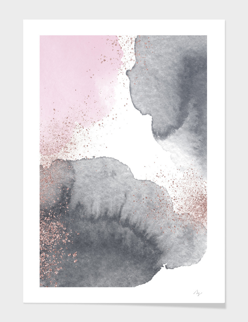 Sparkling Watercolour Clouds - Black Pink