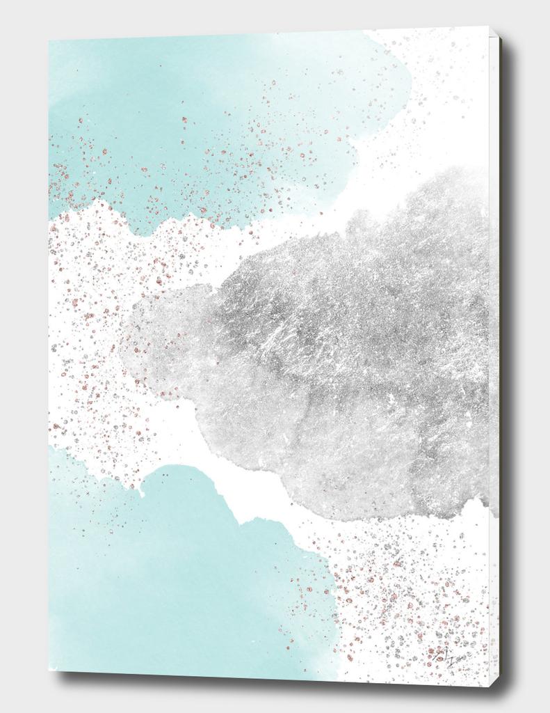 Sparkling Watercolour Clouds - Silver Mint