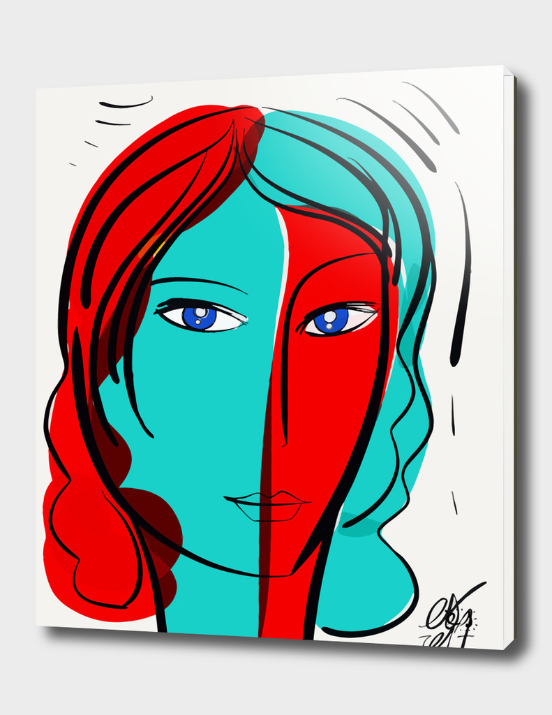Turquoise Red Pop Girl