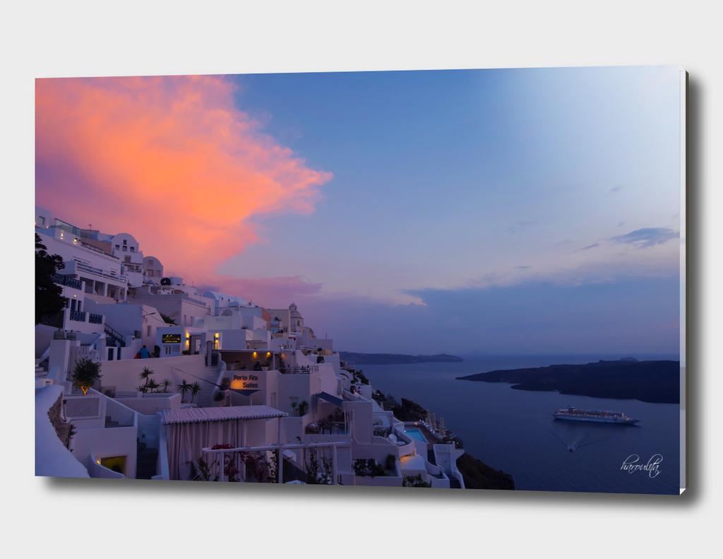Fira,Sunset,Santorini,Greece