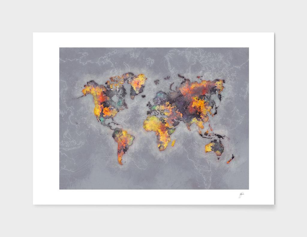 world map grey 48