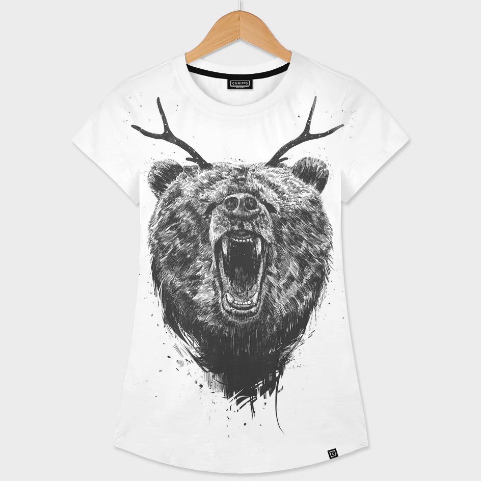 Angry bear with antlers