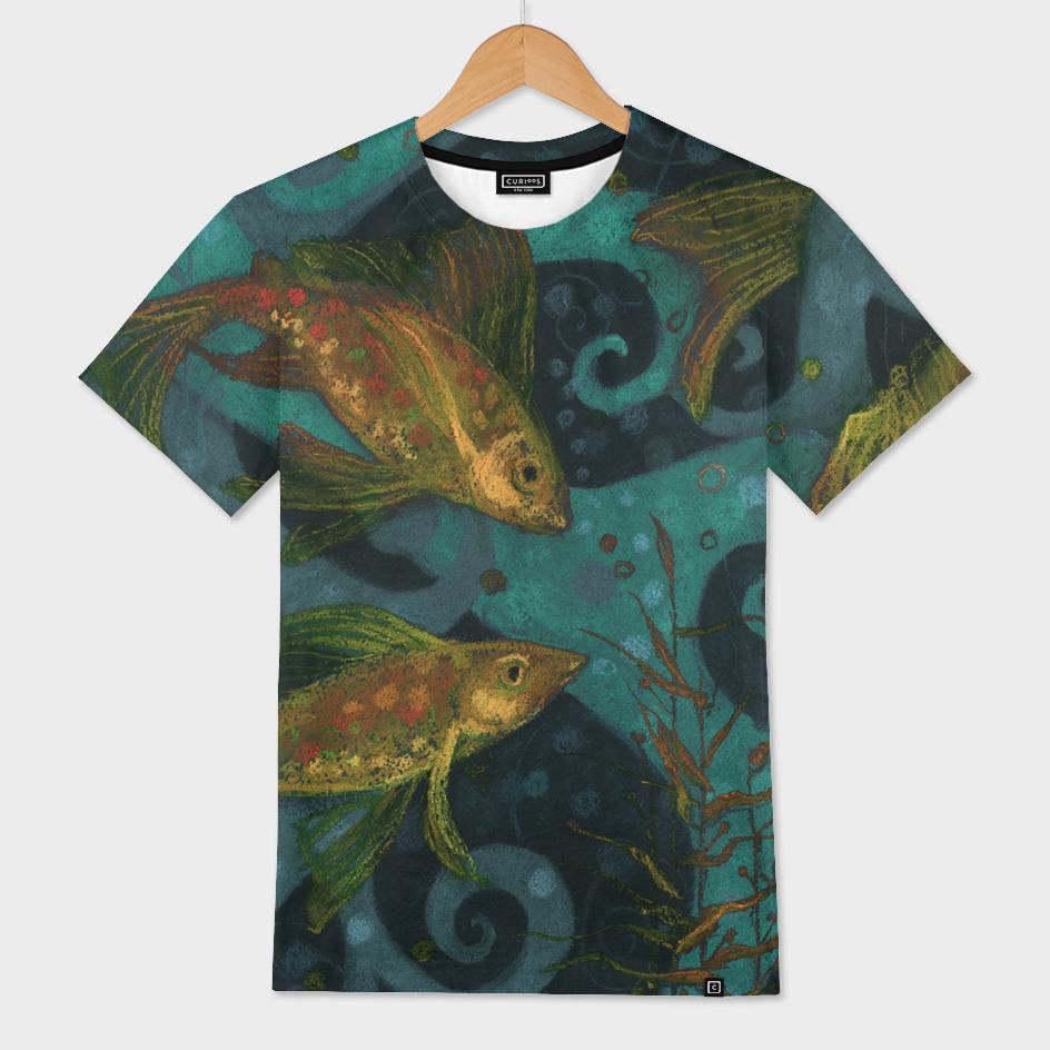 Golden Fishes, underwater creatures, black, teal & yellow