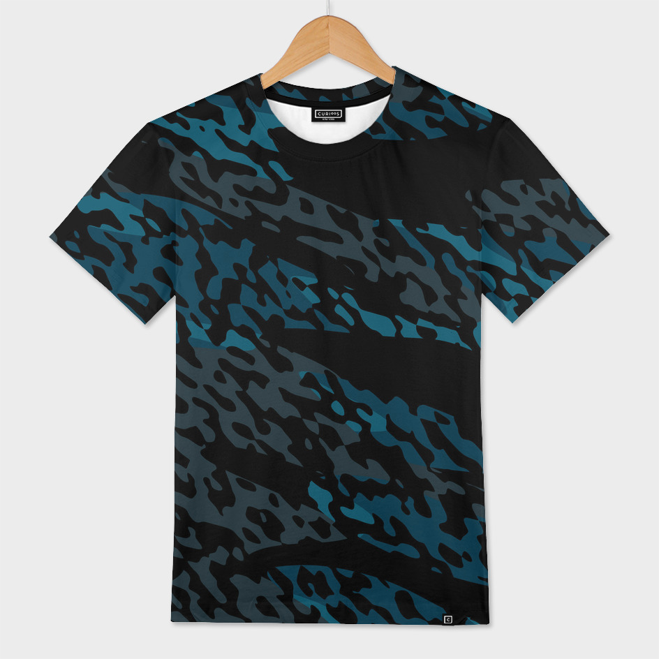 Blue gray and black camo abstract
