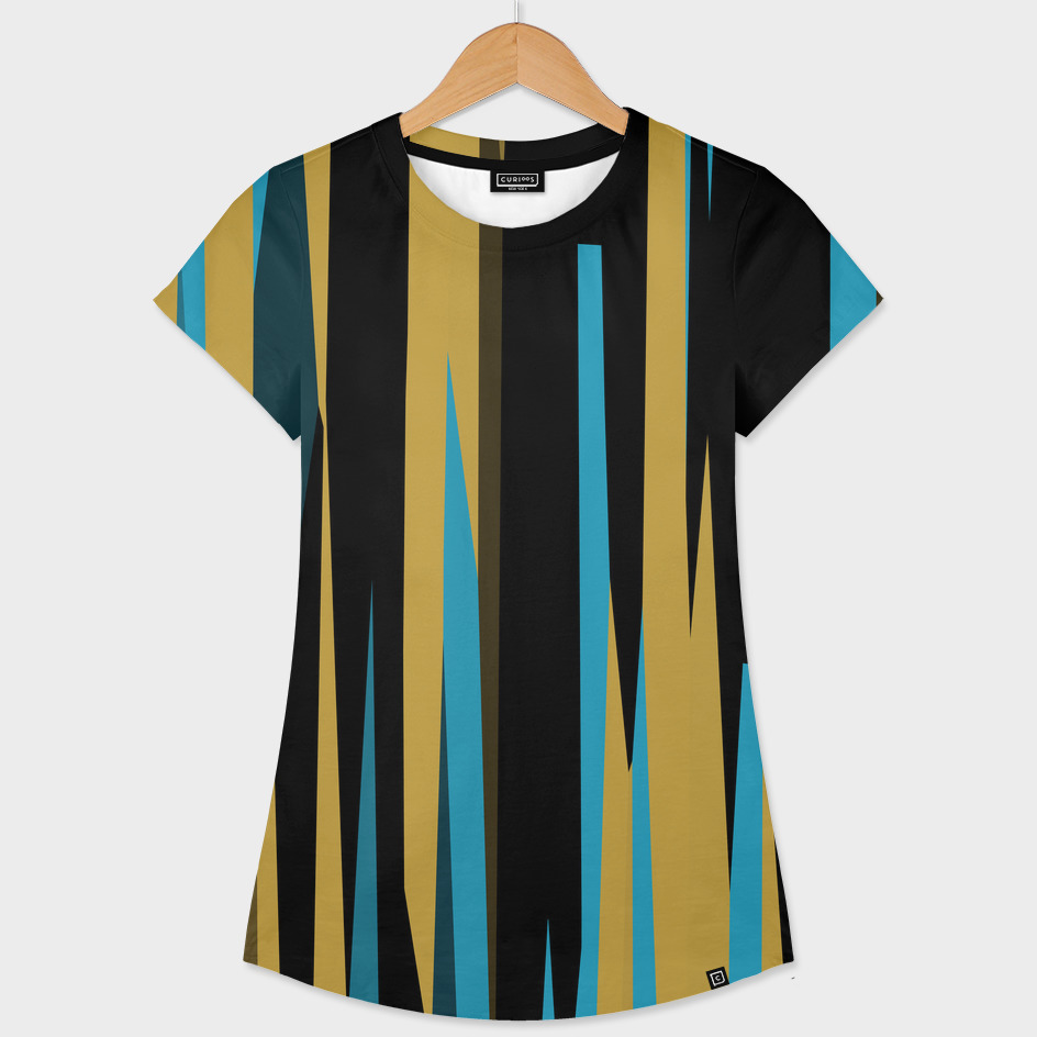 Yellow Turquoise black abstract