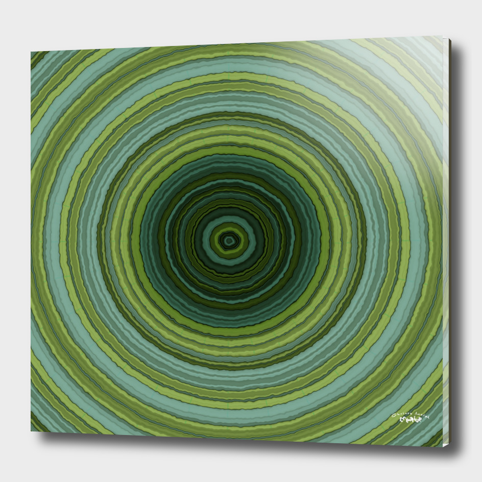 blue and green tree rings