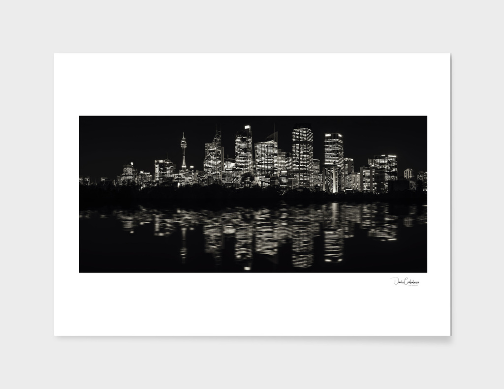 Ultra-wide Panorama of Sydney Skyline in black and white