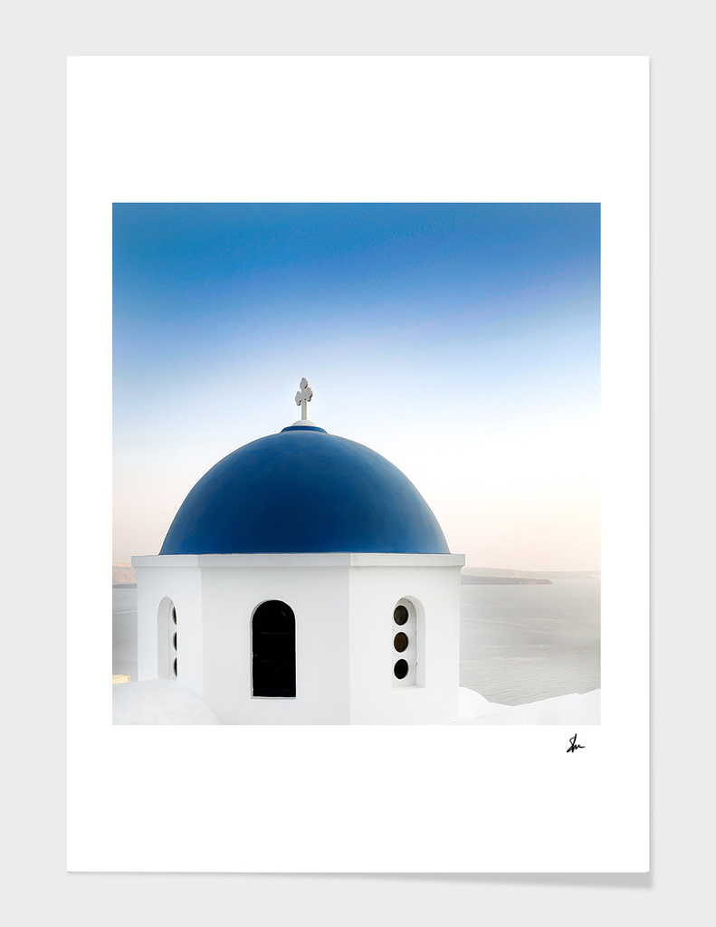 Santorini White and Blue Church View