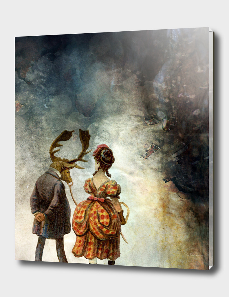 VINTAGE COUPLE IN AUTUMNAL ABSTRACT FOREST