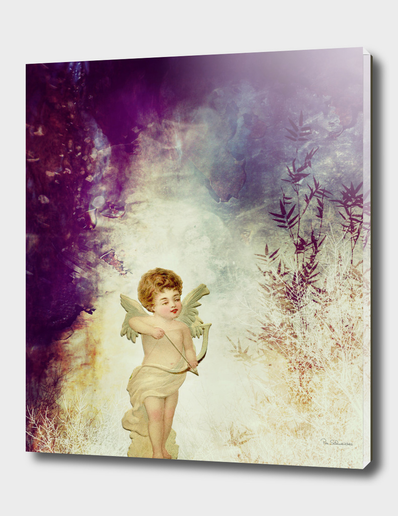 VINTAGE AMOR IN PURPLE ABSTRACT FOREST
