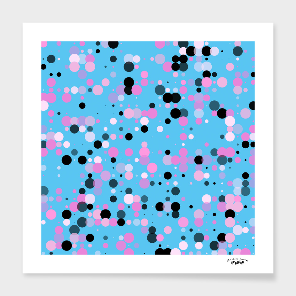 Blue and pink dots