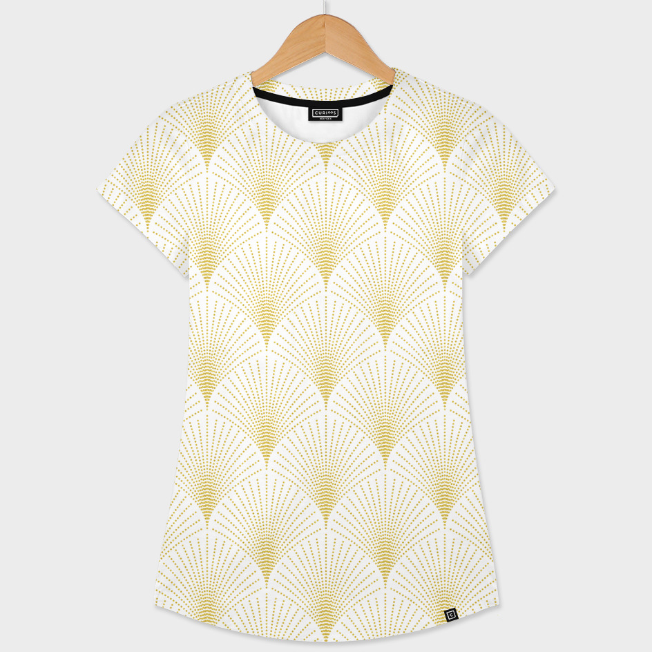 Gold and white art-deco geometric pattern