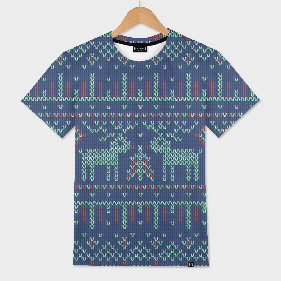 Green and blue geometric Christmas pattern