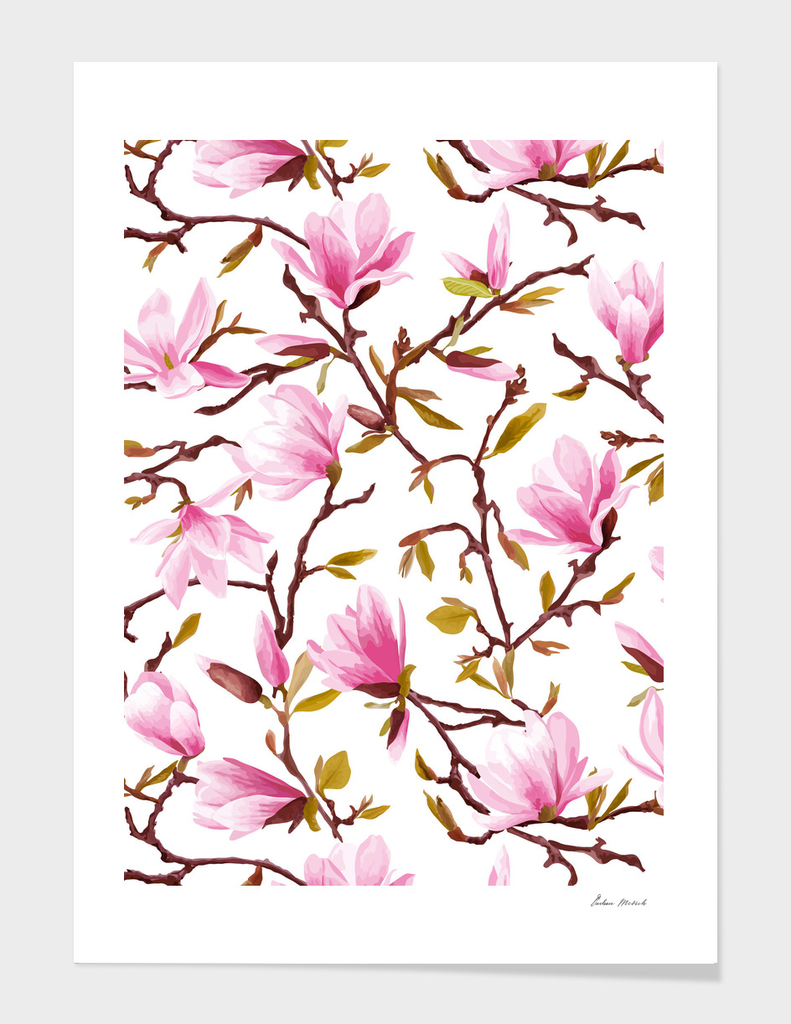 Pink Magnolia Spring Blossom Seamless Pattern