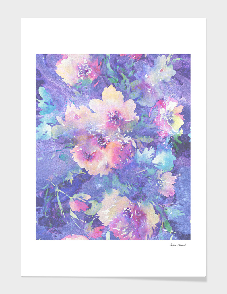 Colorful watercolors flowers pattern