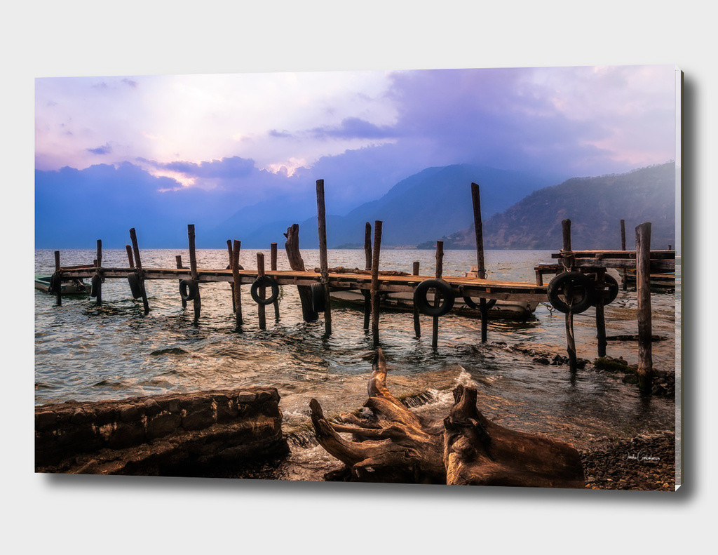Textures on the shore of Lake Atitlan at Sunset