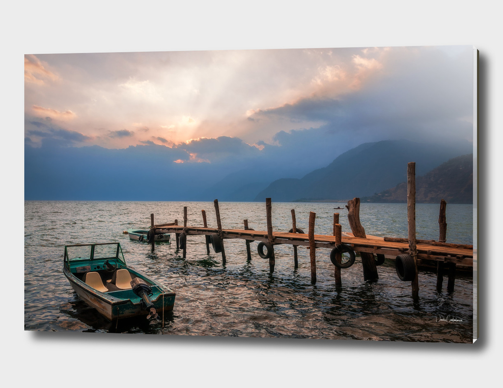 Sun beams at Sunset on Lake Atitlan, Guatemala