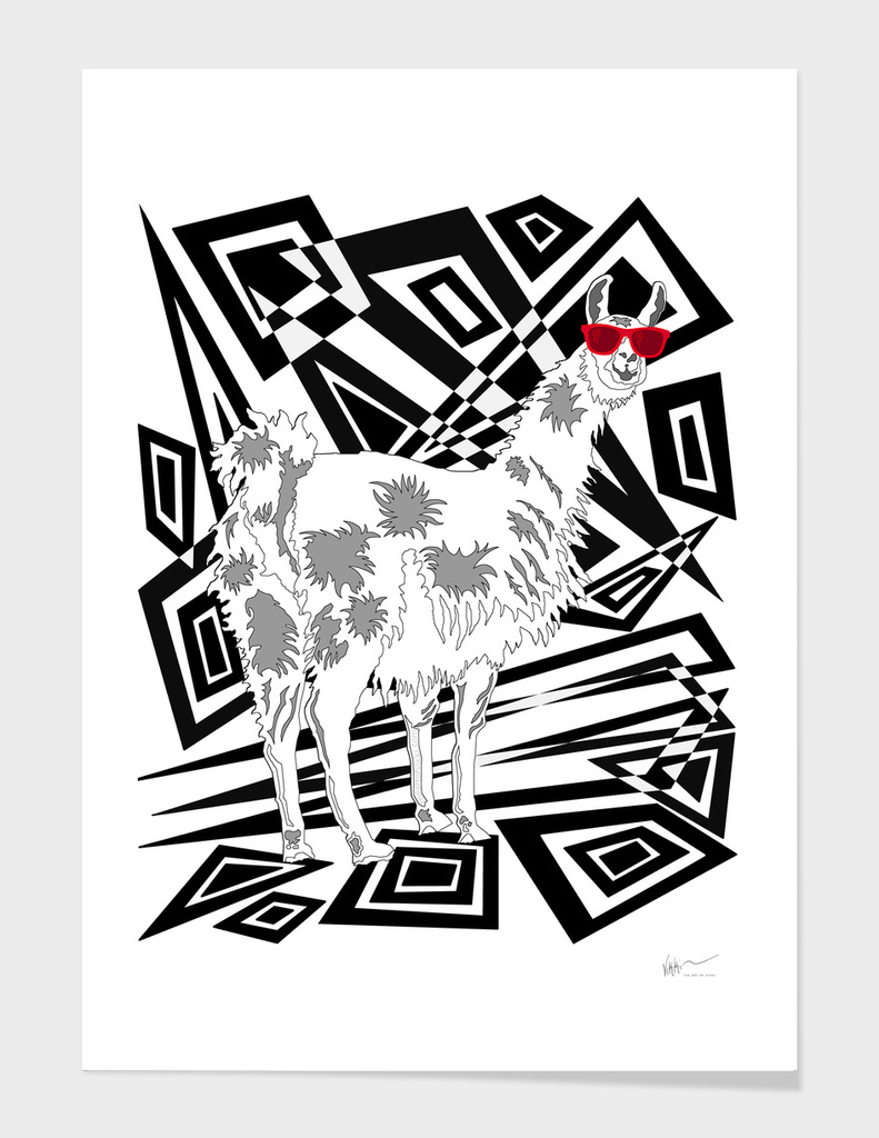 Llama In Red Sunglasses Abstract