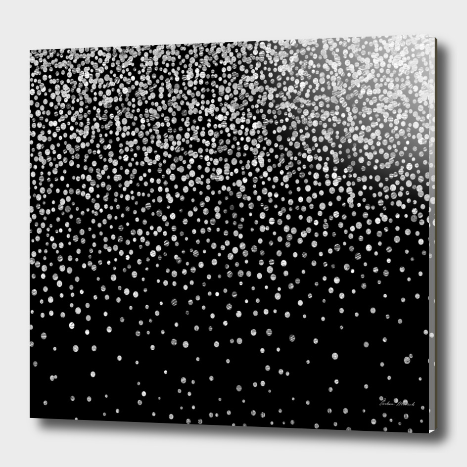 Black and silver confetti design