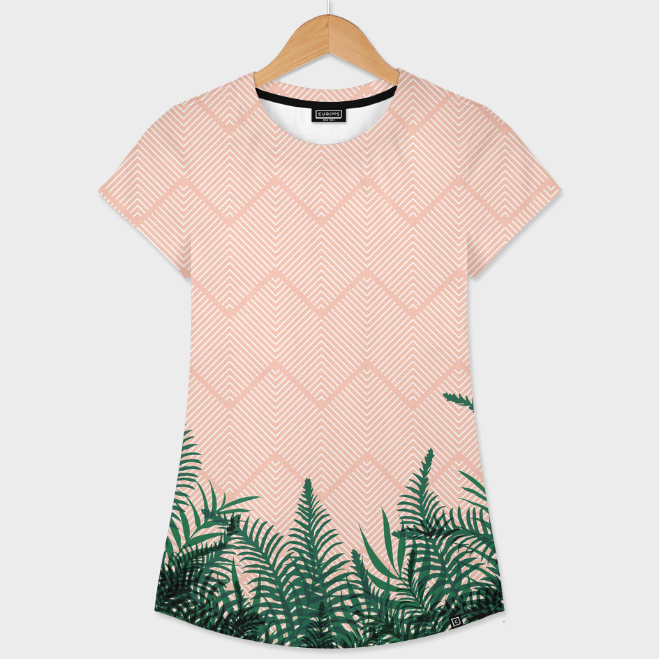 Tropical Ferns on Pink