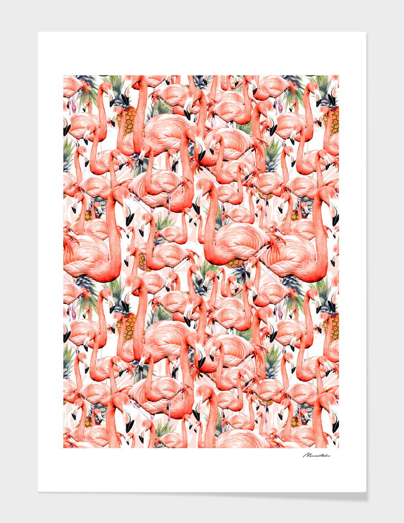 Exotic landscape pattern of flamingos and pineapple