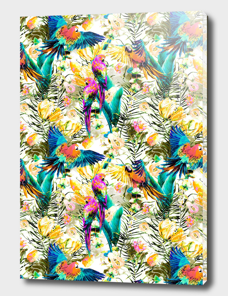 Jungle of fruit with tropical parrots