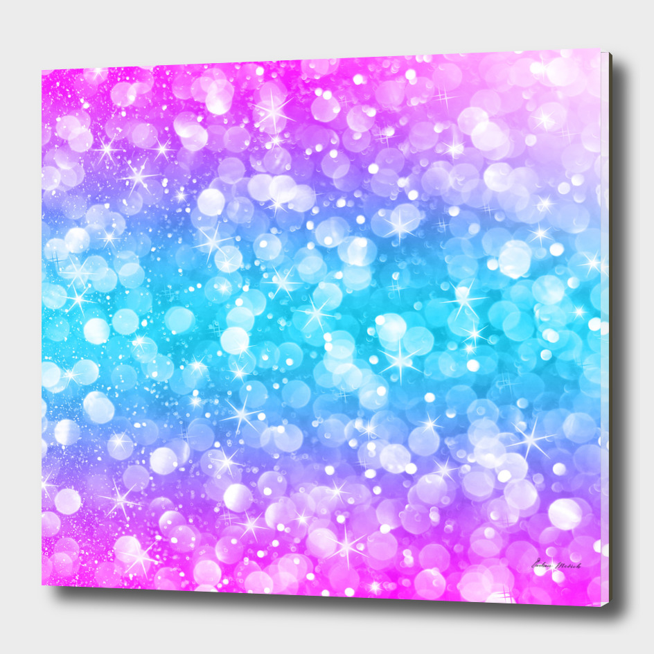 Pink and blue bokeh glitter