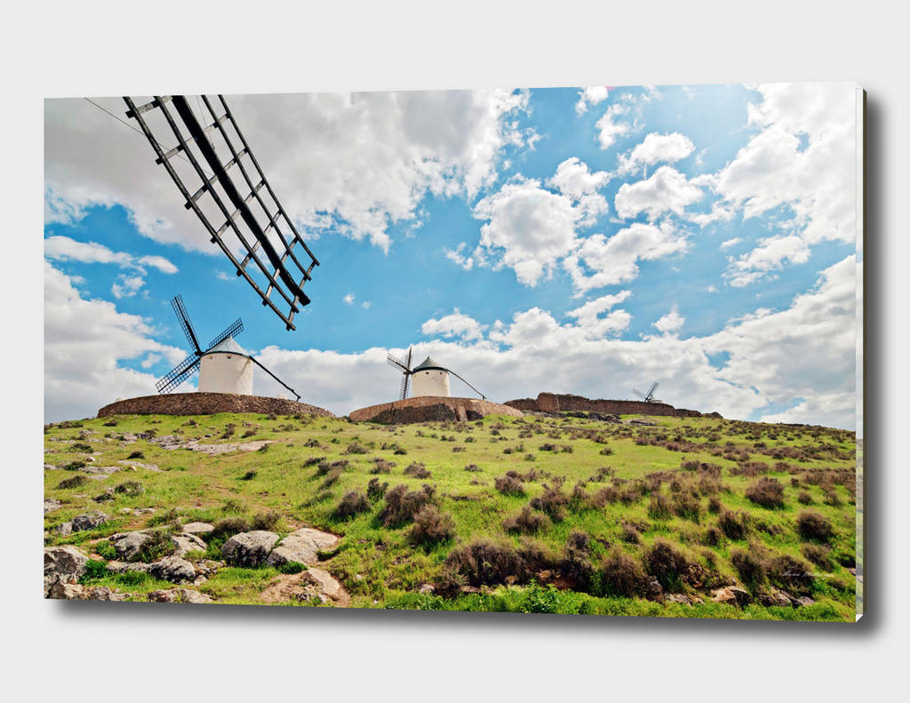 Traditional white windmills