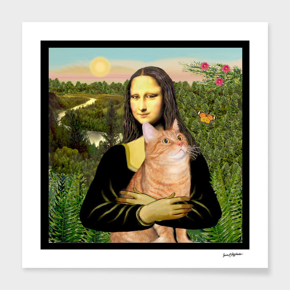 Mona Lisa and her Orange Tabby Cat