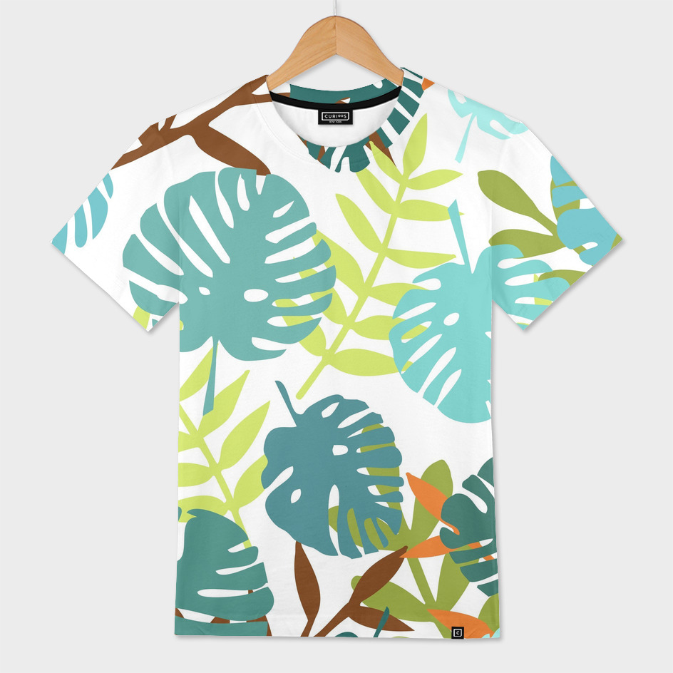Tropical jungle with palm leaves
