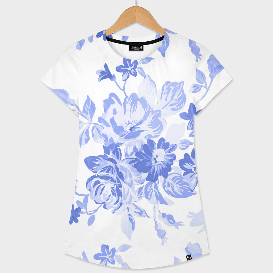 Blue Flowers - Floral Pattern Art