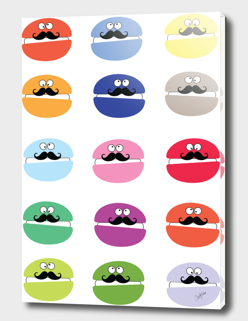 mustache macarons