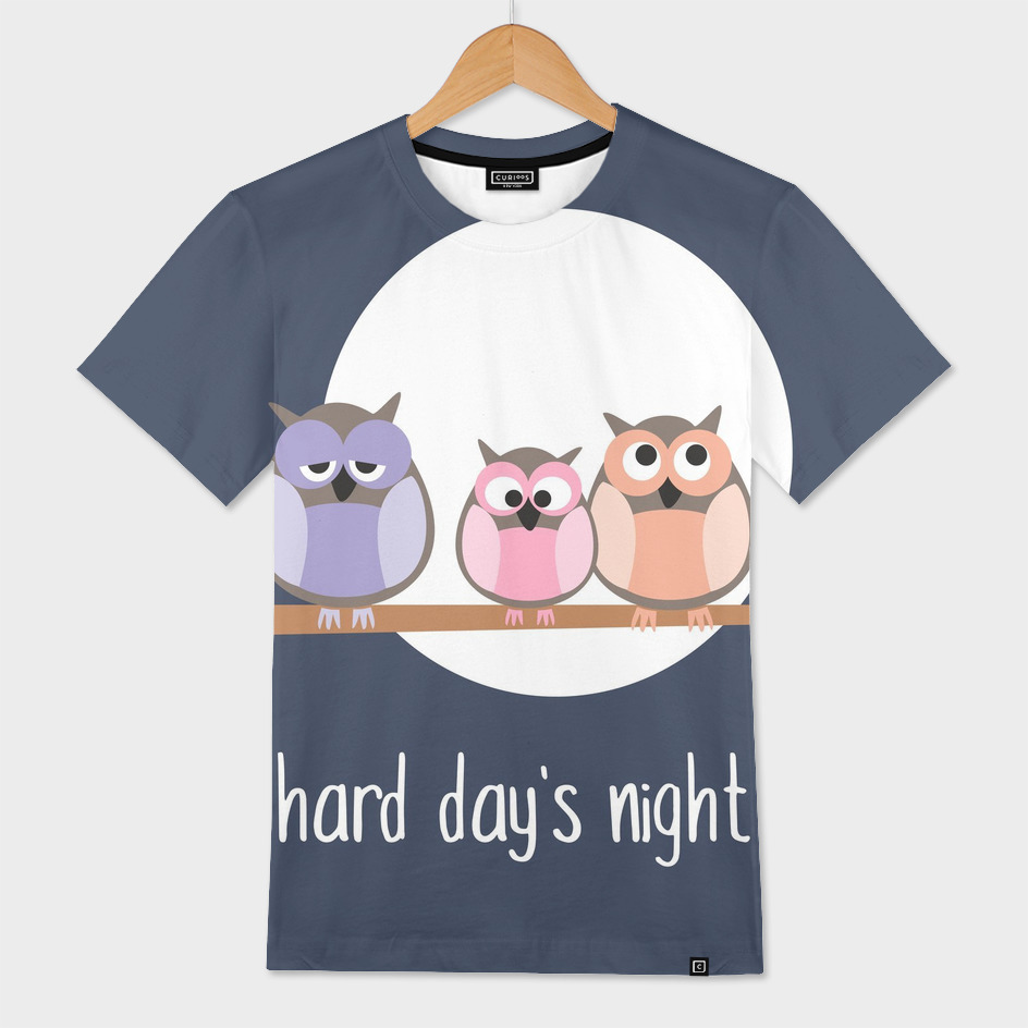 Hard day's night illustration with owls
