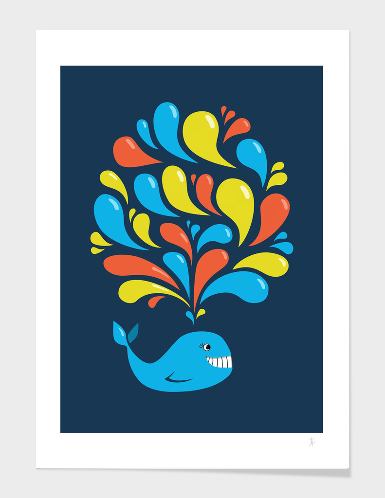 Happy Colorful Cartoon Whale