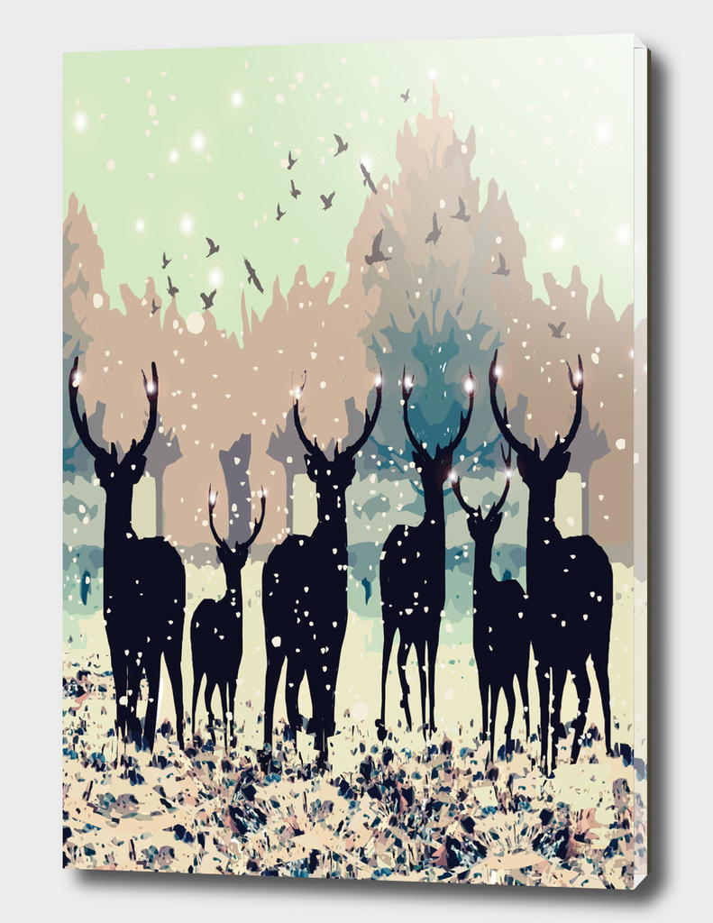 Deer in the snowy forest