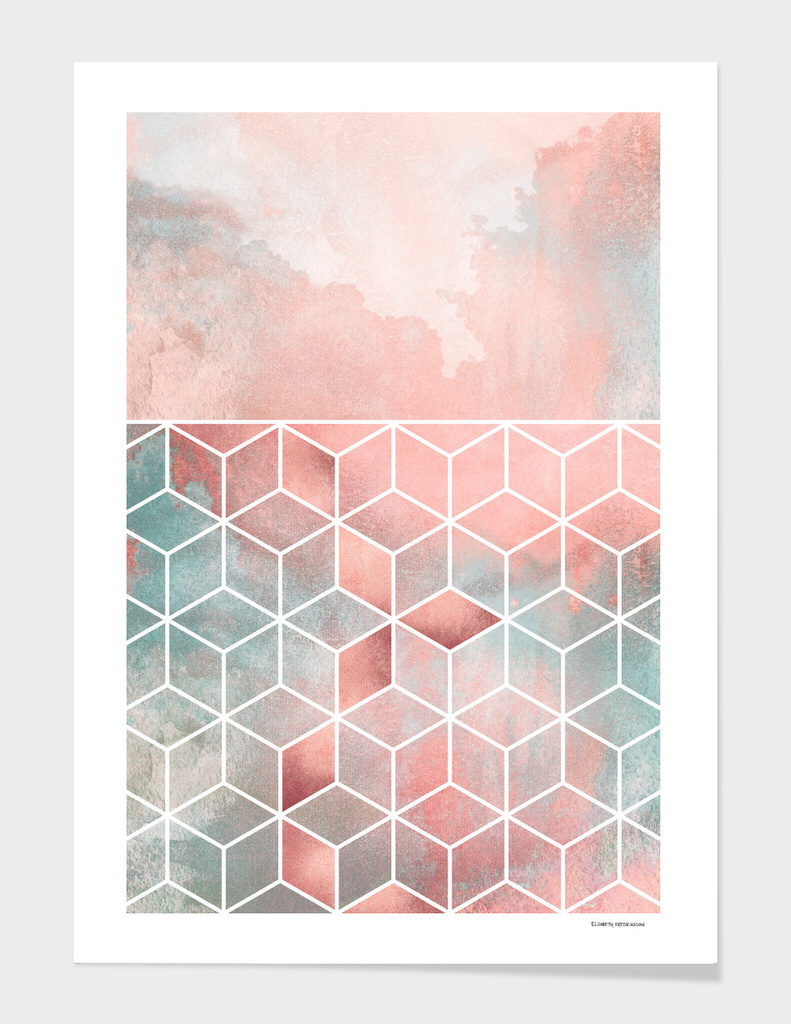 Rose Clouds And Cubes
