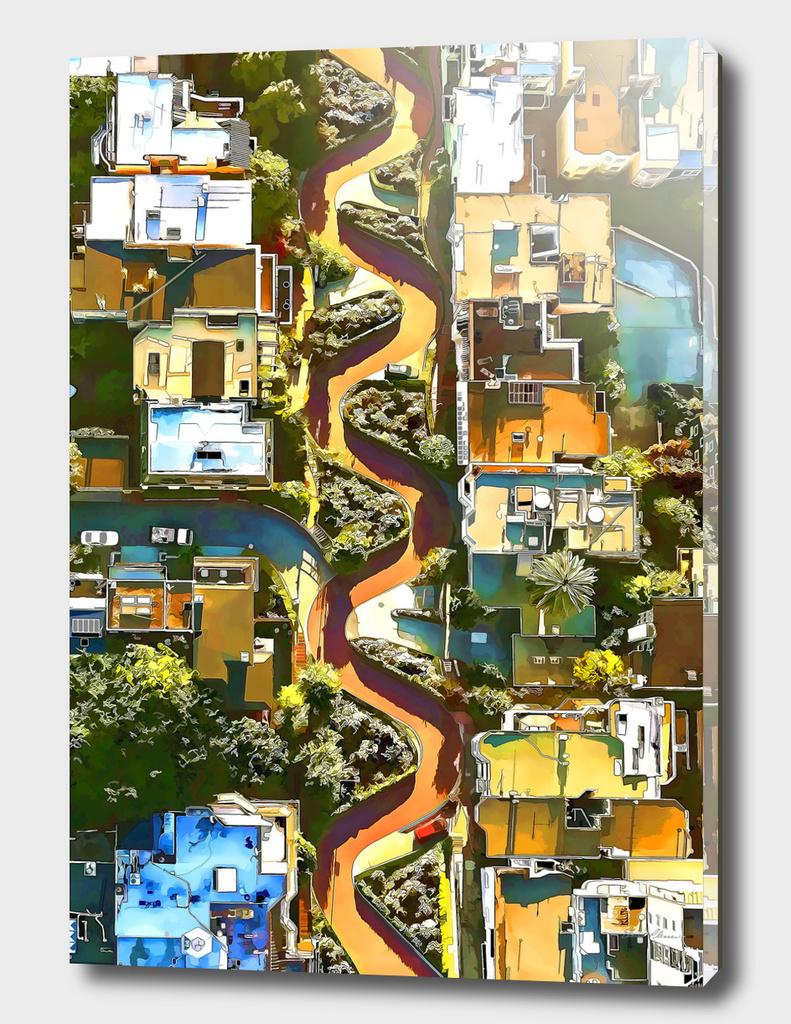 Aerial View of LOMBARD STREET San Francisco Californi