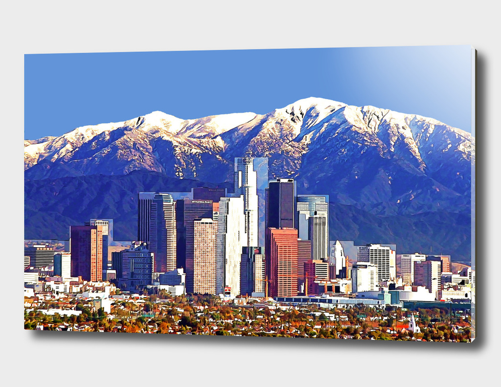 Los Angeles California Skyline Against the Mountains