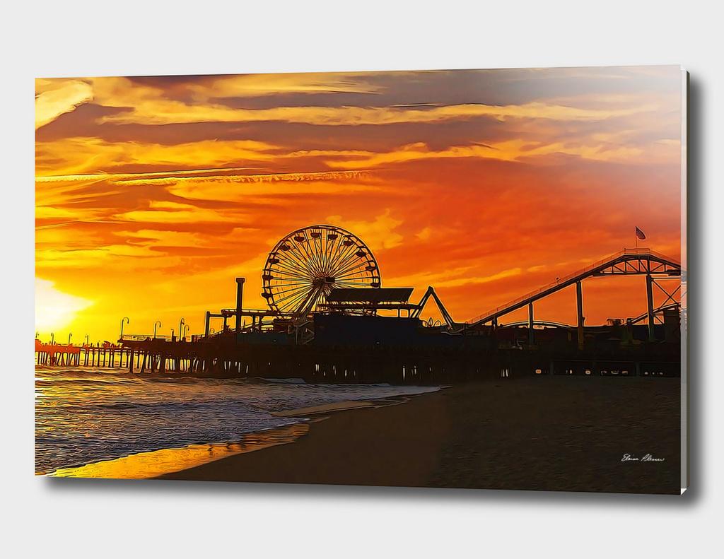 Fiery Sunset at Santa Monica Pier California