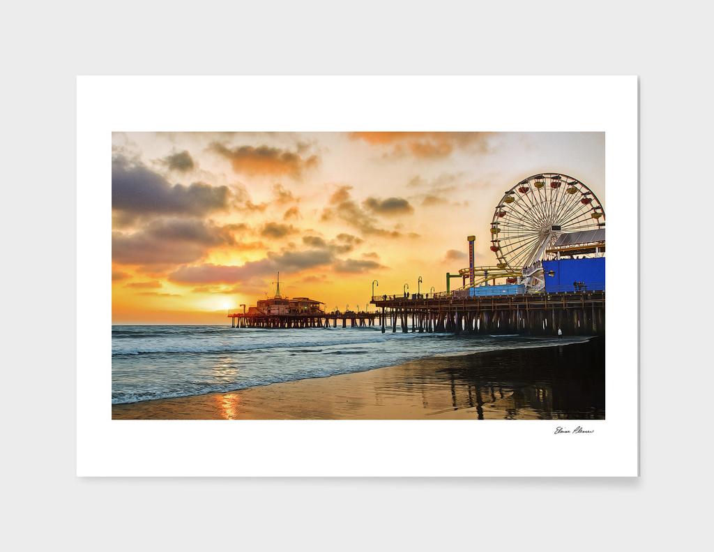 Sunset at Santa Monica Pier California