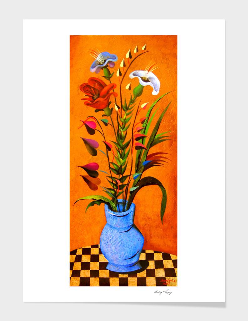 Bouquet in a blue pot