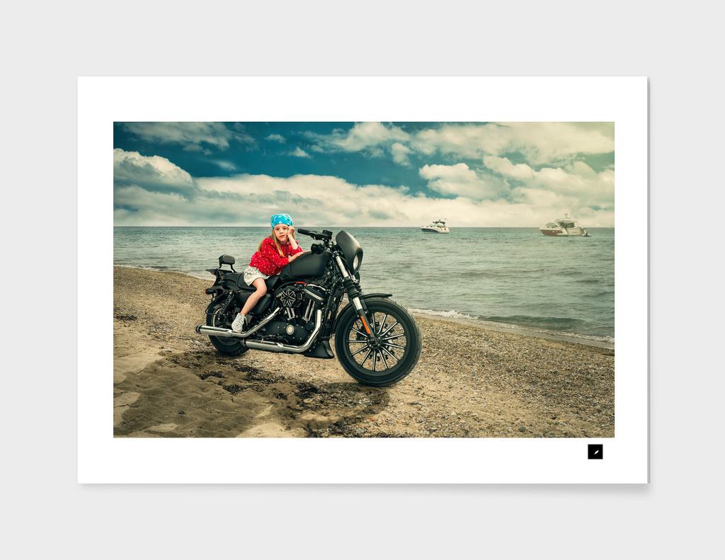 Girl on the big motorcycle