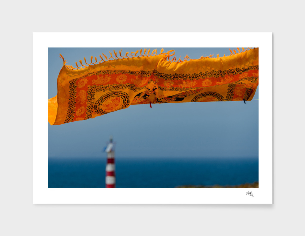 Orange Scarf Blowing in Wind