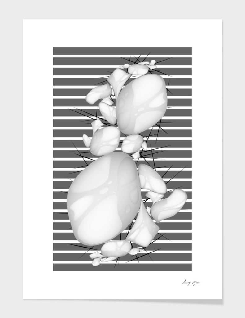 Art poster abstract compoition black grey white colours