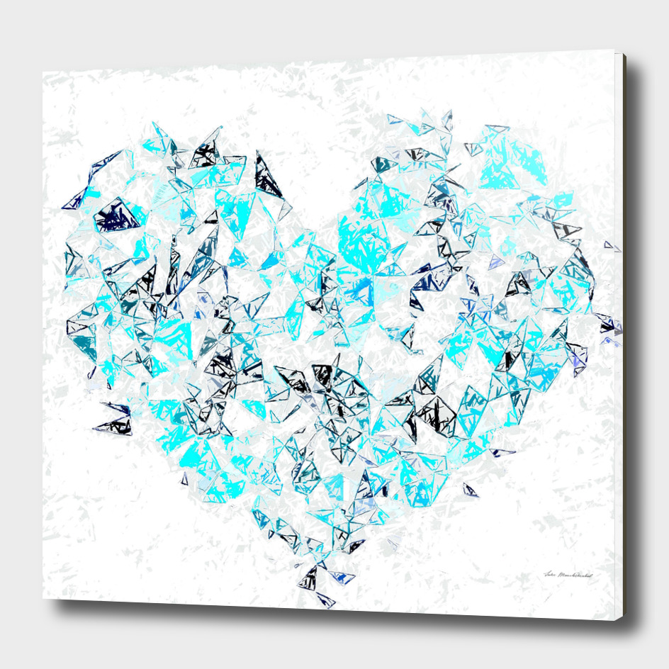 blue heart shape abstract with white abstract background