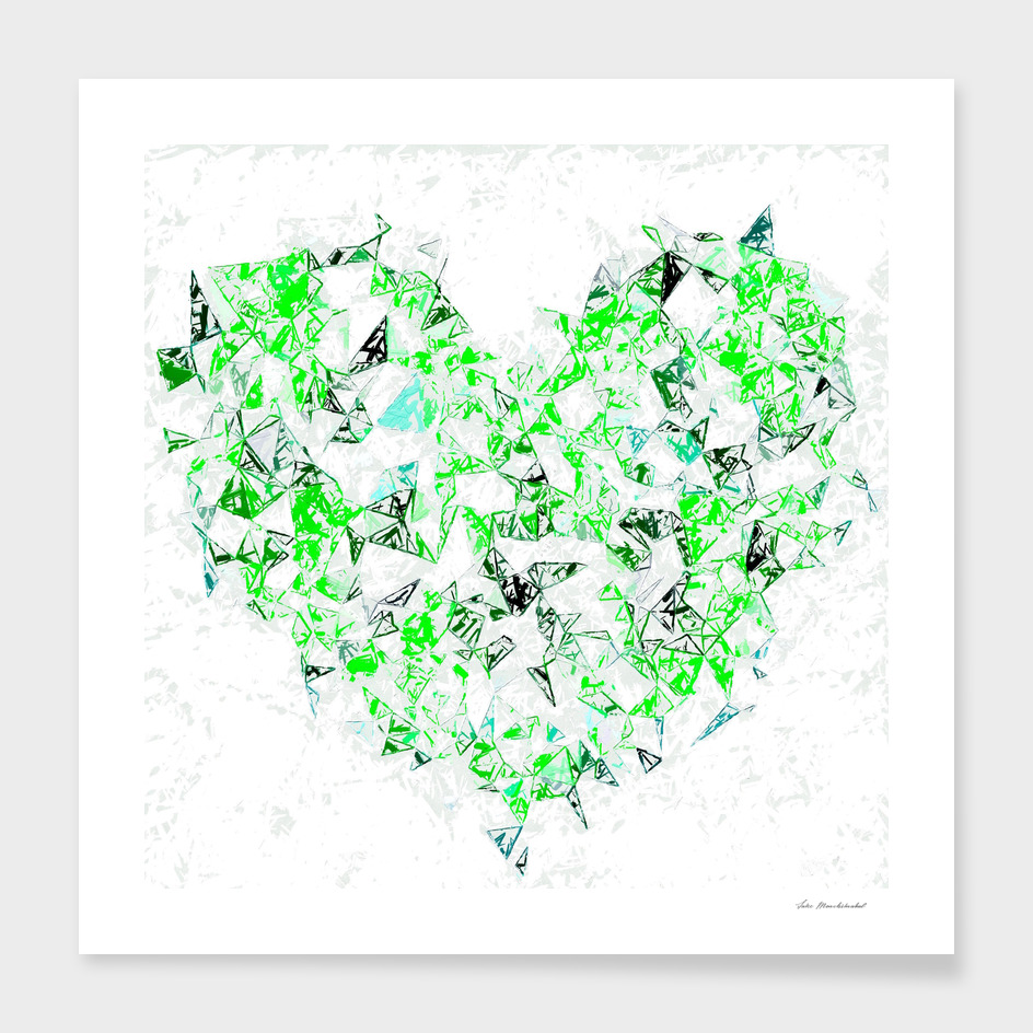 green heart shape abstract with white abstract background