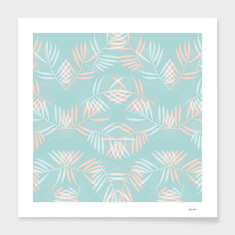 Palm Leaves Lace Pattern on Aqua
