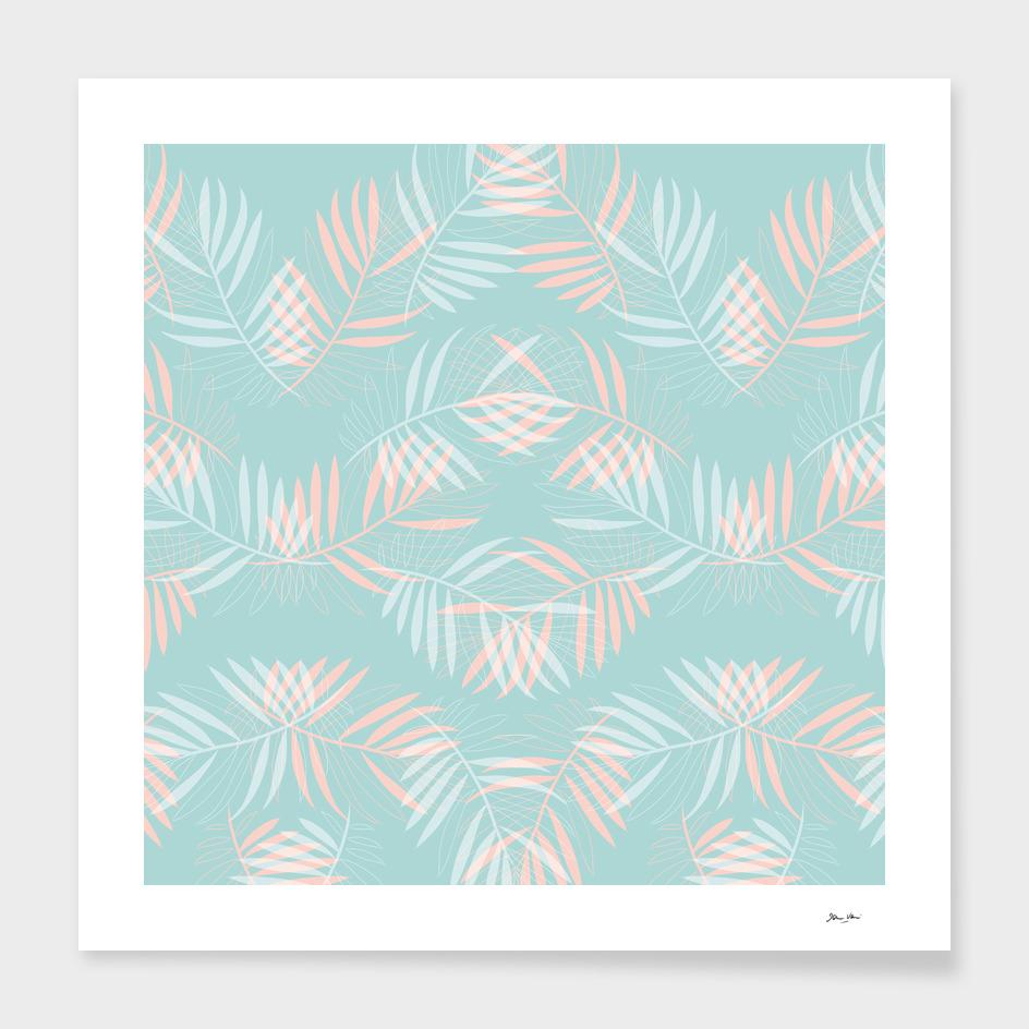 Palm Leaves Lace Pattern on Aqua